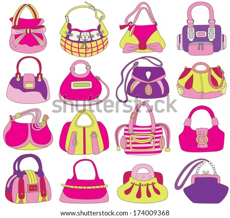 collection of fashionable women's bags (vector illustration) - stock vector