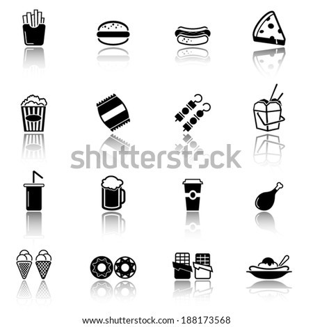 Collection of fast food icons - stock vector