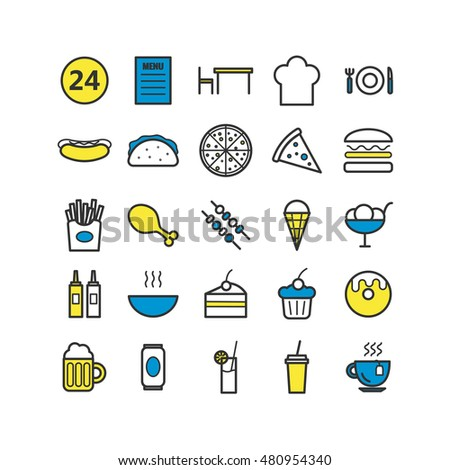 Collection of 25 fast food outline icons. Linear icons for web, print, mobile apps design