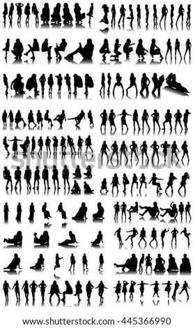 Collection of Female Silhouettes on White Background - stock vector