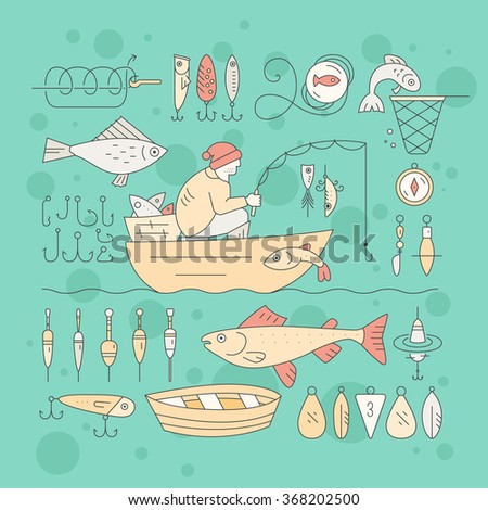 Collection of fishing equipment made in vector. Trout, salmon, rod, boat, tackle, bait and other elements for outdoor activity. Fishing club or fishing gear shop clipart. - stock vector