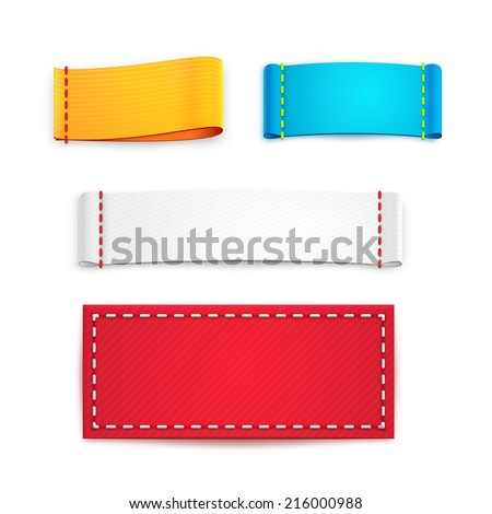 Collection of Five Colorful Blank Labels or Badges with Copyspace for Text - stock vector