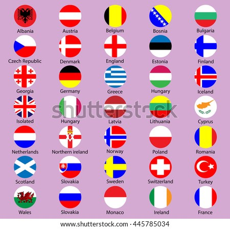 Collection of flag button design. Circle flags of the Europe - stock vector