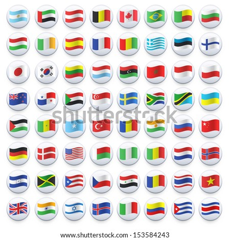 Collection of flag button design. Vector design.