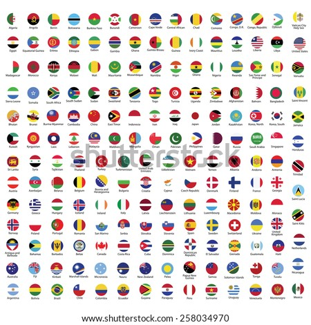 Collection of flag button with name | Circle flags of the world with RGB coloring and detailed emblems - stock vector
