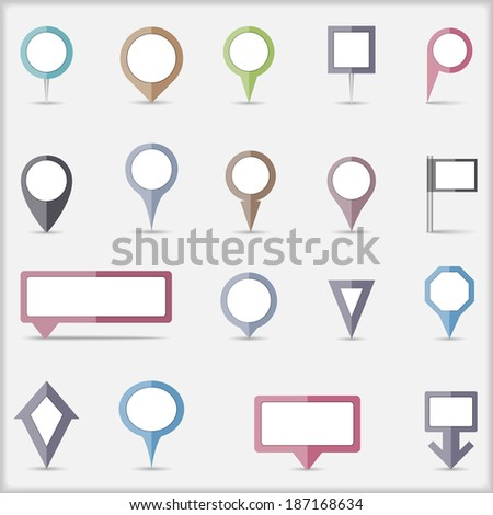 Collection of flat colored map markers, vector eps10 illustration - stock vector