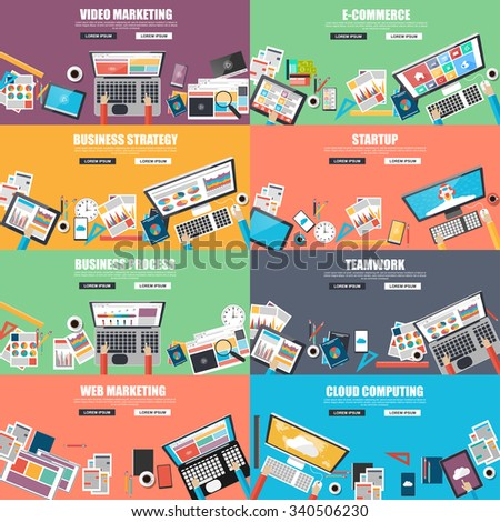 Collection of flat design concept for business strategy, video and web marketing, e-commerce, business processes, teamwork, startup and clound computing. Concepts for web banner and printed materials. - stock vector