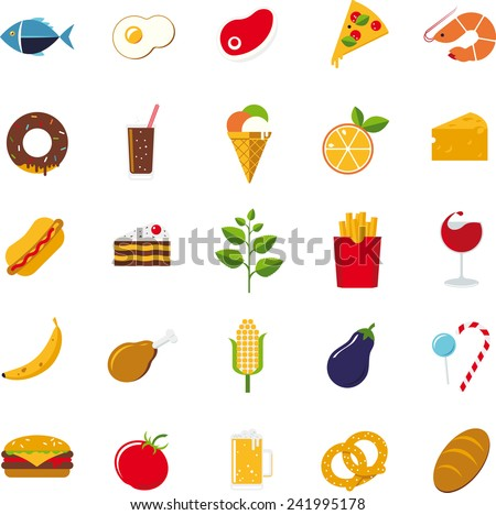 Collection of 25 flat design food and drink vector icons - stock vector