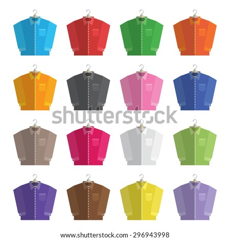 collection of flat design long sleeved shirts on hangers isolated on white, with transparencies. - stock vector