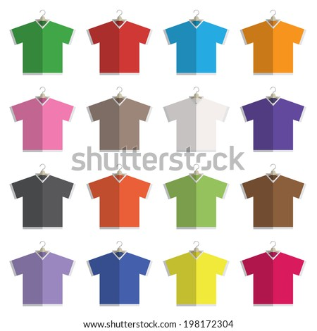 collection of flat design v neck t-shirts on hangers isolated on white, with transparencies. - stock vector