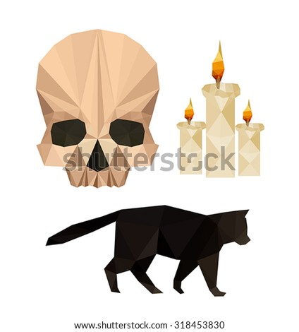 Collection of flat design with halloween objects isolated on white background - stock vector