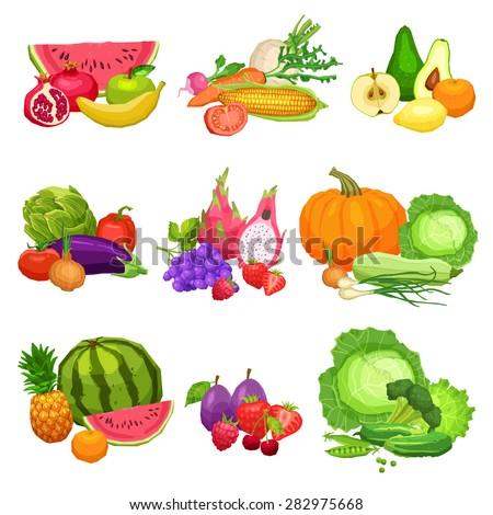 Collection Of Flat Fresh Vegetables And Fruits, Still Life Illustrations Of Vegetables And Fruits, Healthy Lifestyle And Vegetarian Food Concept - stock vector