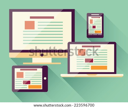 Collection of flat icons mobile smart phone, laptop, computer, tablet, electronic device, responsive web design, infographic elements, vector illustration - stock vector