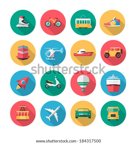 Collection of flat icons which contains illustrations of major land, air and sea vehicles. - stock vector