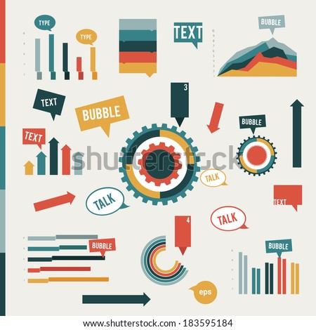 Collection of flat infographic elements. Graphs, speech bubbles, cog wheel diagrams and arrows. Vector design template for print or web page. - stock vector