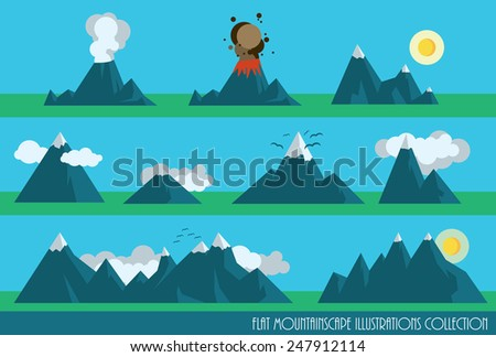 collection of flat mountains illustrations with sun, clouds and a volcano - stock vector