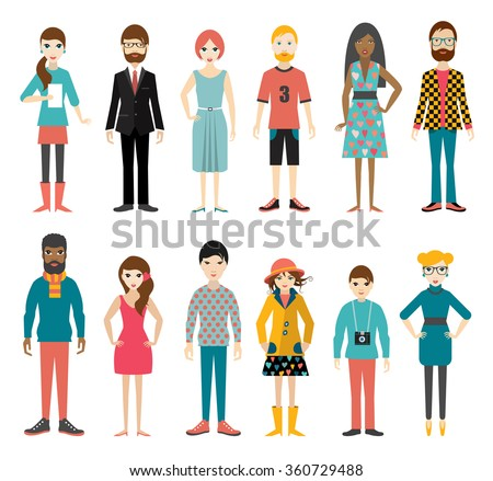 Collection of flat people figures. Full length of man and woman silhouette. Vector.