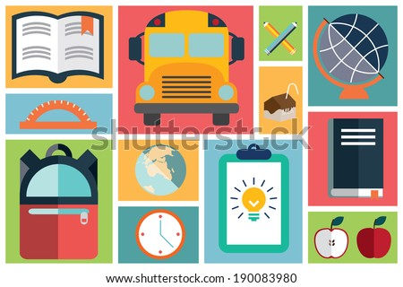 Collection of flat school icons, flat design, vector illustration - stock vector