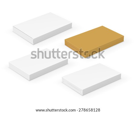 Collection of flat short blank  boxes with place for your design. Vector template - stock vector