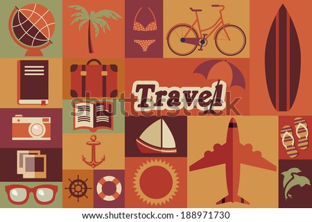 Collection of flat vintage retro travel icons, flat design, vector illustration - stock vector