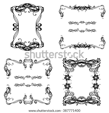 Collection of floral beautiful hand drawn vintage frame and elements. Vector template for business card, greeting card and banner. - stock vector