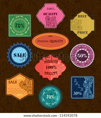 Collection of 10 floral vintage sale labels, badges and icons