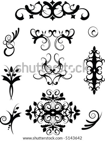 Collection of flourishes - stock vector