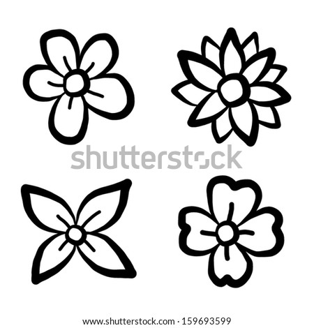 Collection Of Flowers Four Style Cartoon Vector And Illustration Isolated On White Background