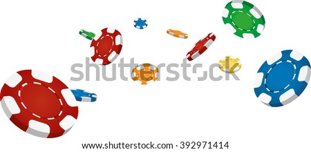 Collection of flying casino chips - stock vector
