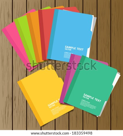 Collection of folder with documents vector illustration - stock vector