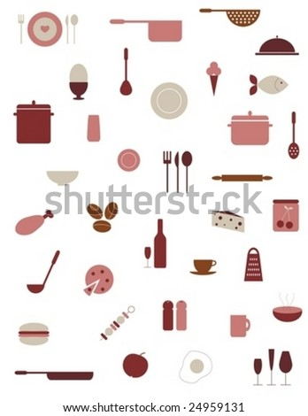 Collection of food and kitchenware icons - stock vector