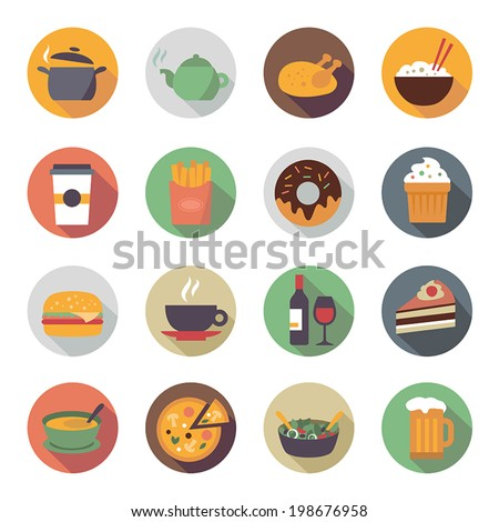 Collection of food icons in flat design style. - stock vector