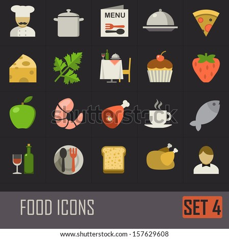 Collection of food icons on dark background - stock vector
