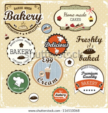 Collection of  food labels, badges and icons vintage style - stock vector