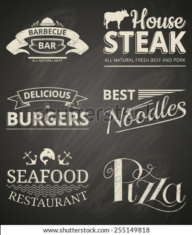 Collection of food restaurant labels on blackboard. - stock vector