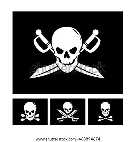 Collection of four black pirate flags with human skulls isolated on white background. Art vector illustration.
