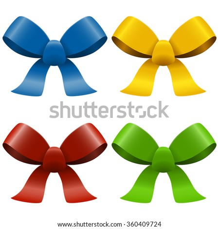 collection of four bows with ribbons isolated on white background