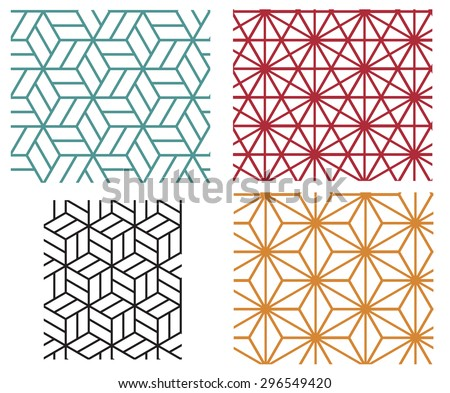 Collection of four color star and cube in geometric line style vector patterns - stock vector