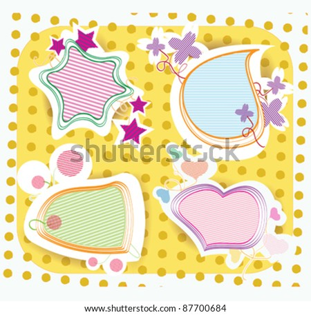 Collection of four different cartoon stickers on yellow background