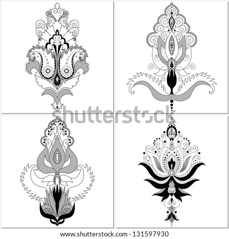 Collection of four elements. East floral patterns. Easy to change colors. Make your ornament. - stock vector