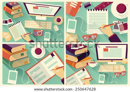 Collection of four flat work desks, long shadow, office desk, computer and stationery, vector illustration - stock vector