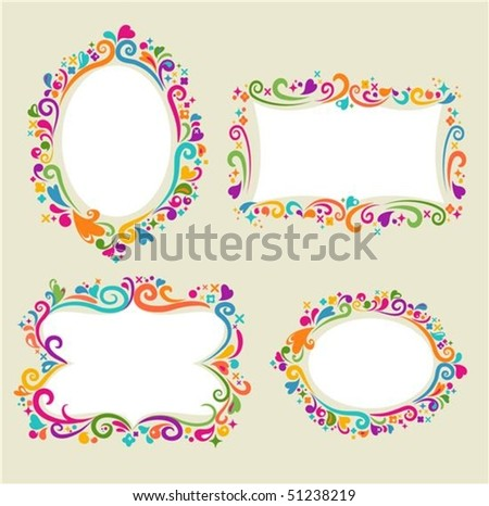 Collection of four floral frames - stock vector