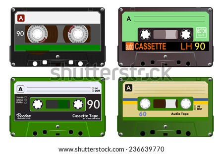 Collection of four plastic audio cassettes tape. Different colorful music tapes. Green set. old technology, realistic retro design, vector art image illustration, isolated on white background eps10  - stock vector