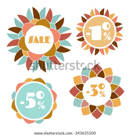 Collection of four round mosaic flower sale tags isolated on white background. Set of four floral patchwork discount banners. Vintage color palette. Set of 4 geometric flower frames with text space. - stock vector