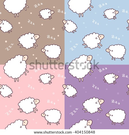 Collection of four seamless pattern with sheep in baby style