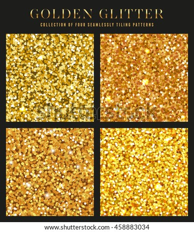 collection of four seamlessly tiling golden glitter patterns/textures - perfect for christmas or luxury designs - stock vector