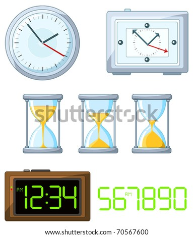 Collection of four vector clock - stock vector