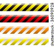 collection of four warning tapes in different colours with stripes - stock vector