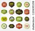 Collection of free delivery, new offer, special offer and sold out labels - stock photo