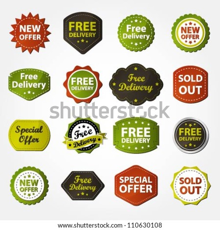 Collection of free delivery, new offer, special offer and sold out labels - stock vector